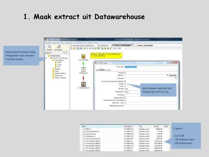 1. Maak extract uit Datawarehouse<br />Maak met Pentaho Data Integration een nieuwe Transformatie<br />Met Header werkte h...
