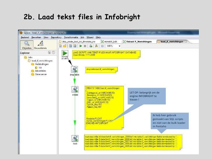 40 kolommen</li></li></ul><li>2a. Laad tekst files in Infobright<br />Infobright is een storage engine op MySQL <br />