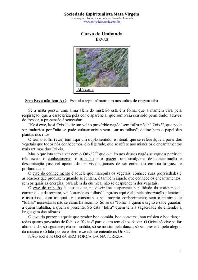 Sociedade Espiritualista Mata Virgem Este arquivo foi retirado do Site Povo de Aruanda www.povodearuanda.com.br 1 Curso de...