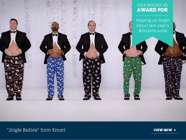"""2014 HOLIDAY AD  AWARD FOR  Helping us forget  about last year's  #ShowYourJoe  """"Jingle Bellies"""" from Kmart VIEW NOW"""