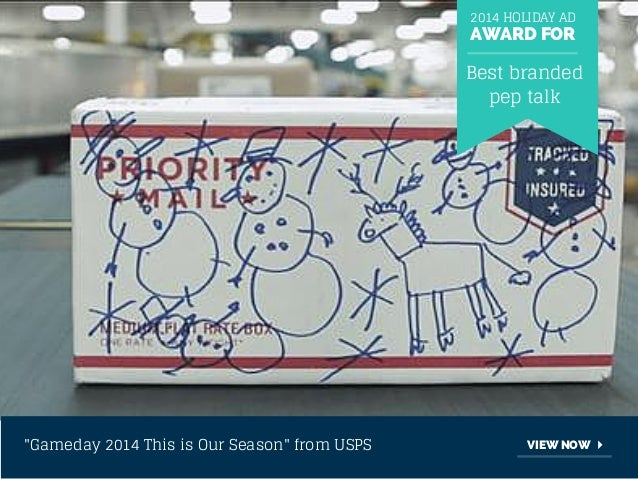 """2014 HOLIDAY AD  AWARD FOR  Best branded  pep talk  """"Gameday 2014 This is Our Season"""" from USPS VIEW NOW"""