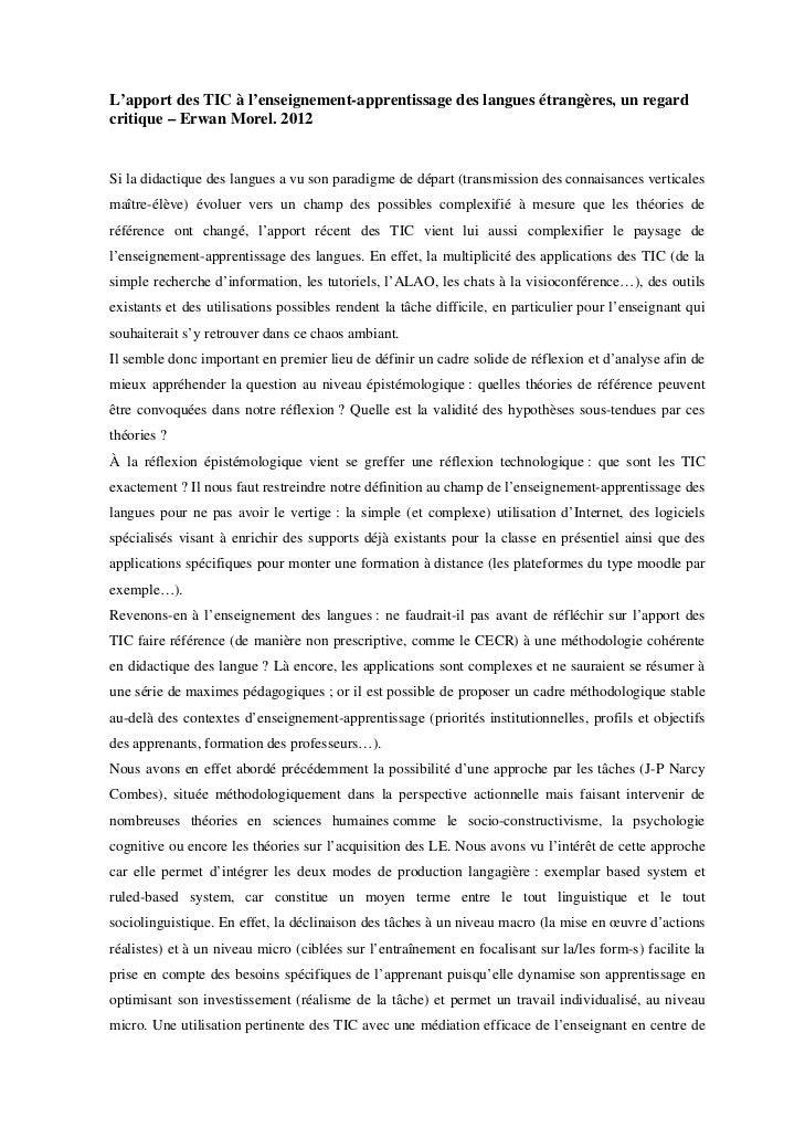 L'apport des TIC à l'enseignement-apprentissage des langues étrangères, un regardcritique – Erwan Morel. 2012Si la didacti...