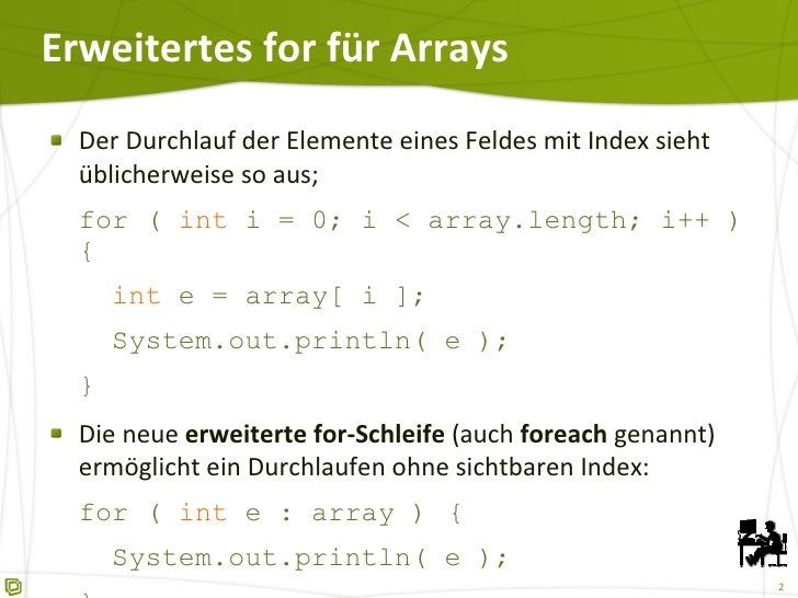 Erweiteres for (foreach) in Java 5 Slide 2