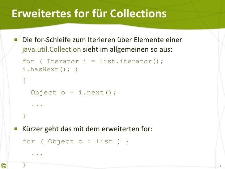 Erweiteres for (foreach) in Java 5 Slide 3
