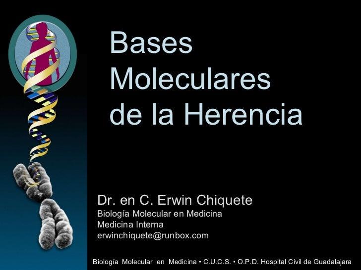 Bases  Moleculares de la Herencia Dr. en C. Erwin Chiquete Biología Molecular en Medicina Medicina Interna [email_address]...