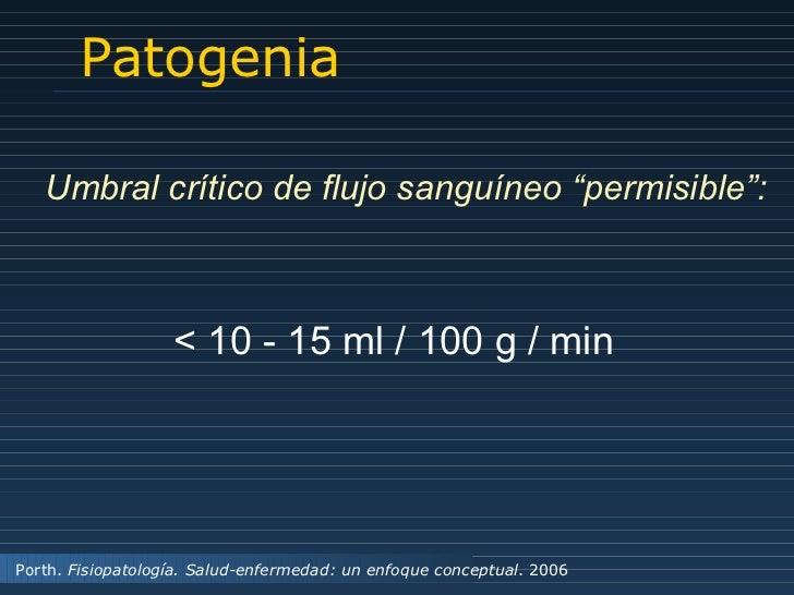 """Patogenia Umbral crítico de flujo sanguíneo  """" permisible """" : < 10 - 15 ml / 100 g / min Porth.  Fisiopatología. Salud-enf..."""