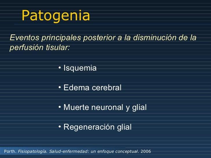 Patogenia Porth.  Fisiopatología. Salud-enfermedad: un enfoque conceptual . 2006 <ul><li>Isquemia </li></ul><ul><li>Edema ...
