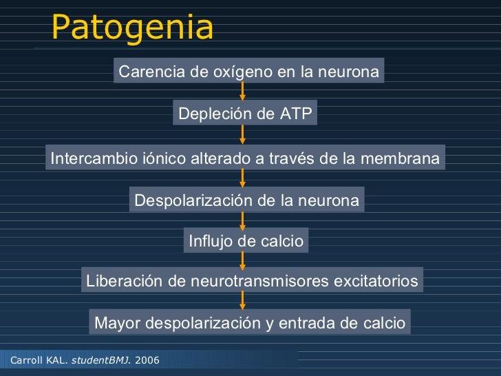 Patogenia Carroll KAL.  studentBMJ.  2006 Carencia de oxígeno en la neurona Depleción de ATP Intercambio iónico alterado a...