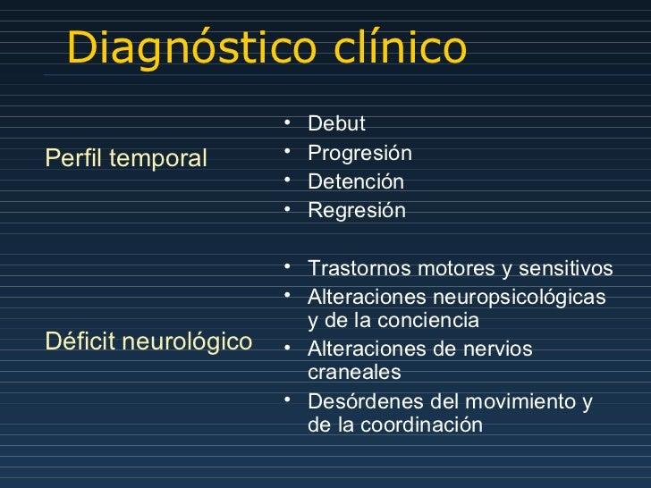 Diagnóstico clínico Perfil temporal Déficit neurológico <ul><li>Debut </li></ul><ul><li>Progresión </li></ul><ul><li>Deten...