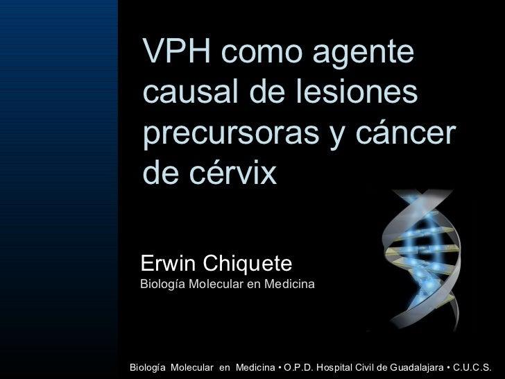 VPH como agente causal de lesiones precursoras y cáncer de cérvix  Erwin Chiquete Biología Molecular en Medicina Biología ...