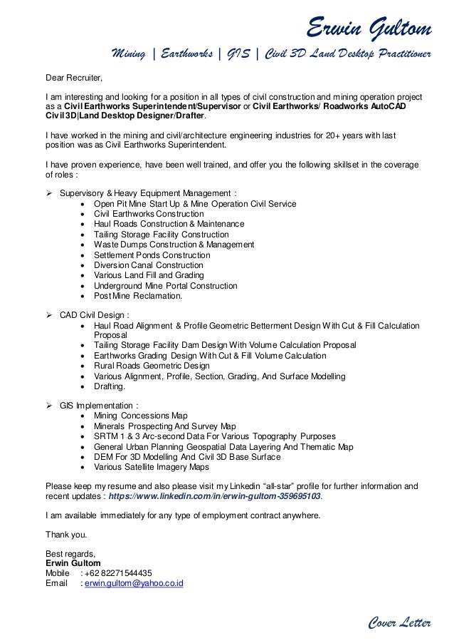 erwin gultom mining earthworks gis civil 3d land desktop practitioner cover letter dear