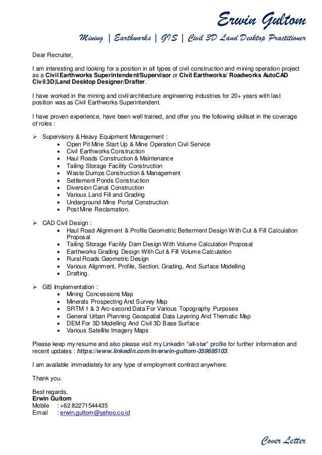 Erwin Gultom Mining | Earthworks | GIS | Civil 3D Land Desktop Practitioner Cover  Letter Dear ...