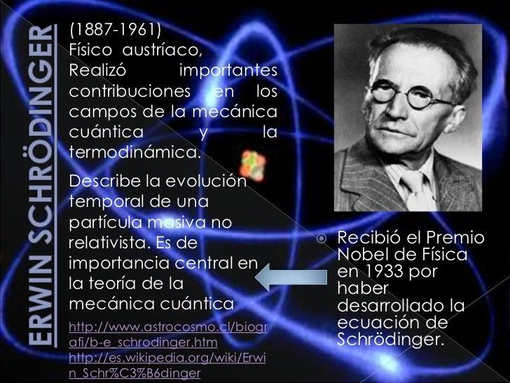 Erwin Schrödinger<br />(1887-1961)<br />Físico  austríaco, <br />Realizó importantes contribuciones en los campos de la me...