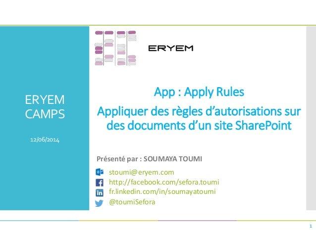 ERYEM CAMPS 12/06/2014 App : Apply Rules Appliquer des règles d'autorisations sur des documents d'un site SharePoint 1 Pré...