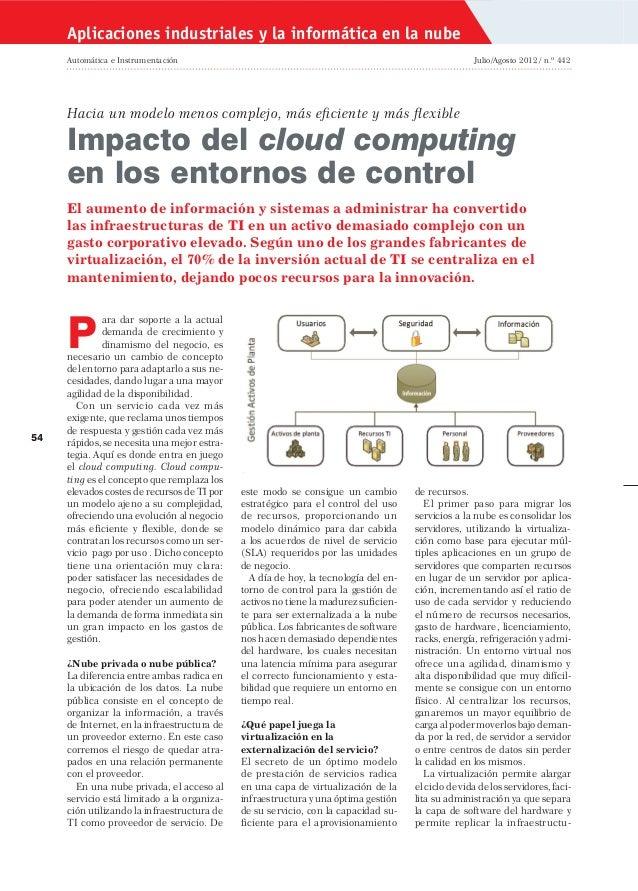 Aplicaciones industriales y la informática en la nube Automática e Instrumentación  Julio/Agosto 2012 / n.º 442  Hacia un...