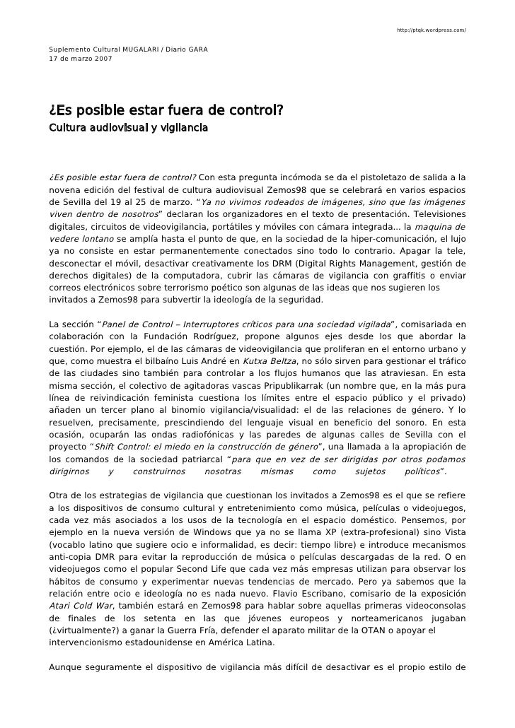 http://ptqk.wordpress.com/   Suplemento Cultural MUGALARI / Diario GARA 17 de marzo 2007     ¿Es posible estar fuera de co...