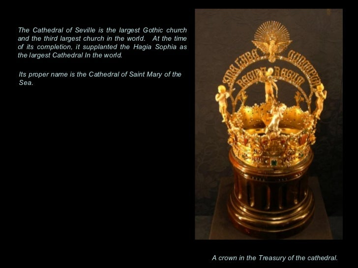 A crown in the Treasury of the cathedral.  The Cathedral of Seville is the largest Gothic church and the third largest chu...