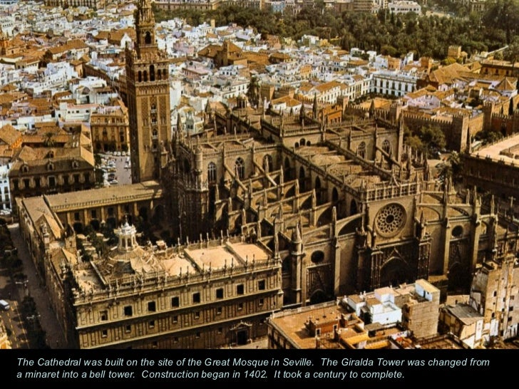 The Cathedral was built on the site of the Great Mosque in Seville.  The Giralda Tower was changed from a minaret into a b...