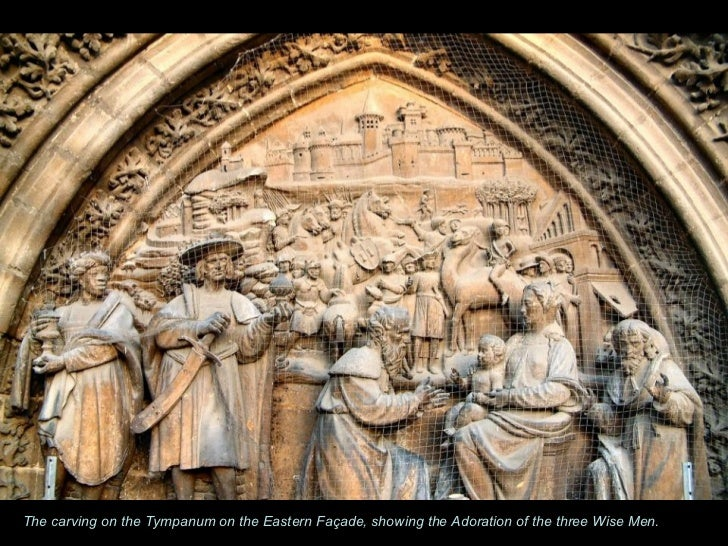 The carving on the Tympanum on the Eastern Façade, showing the Adoration of the three Wise Men.