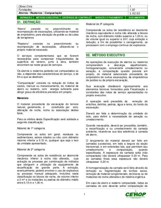 """Obras Civis 1 Fundações 1.02 Aterros / Reaterros / Compactação 1.02.02 1 0011.. DDEEFFIINNIIÇÇÃÃOO """"Aterro"""" consiste no pr..."""