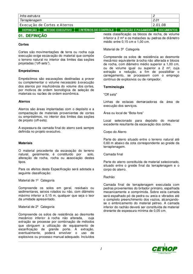 Infra-estrutura 2 Terraplenagem 2.01 Execução de Cortes e Aterros 2.01.08 1 0011.. DDEEFFIINNIIÇÇÃÃOO Cortes Cortes são mo...