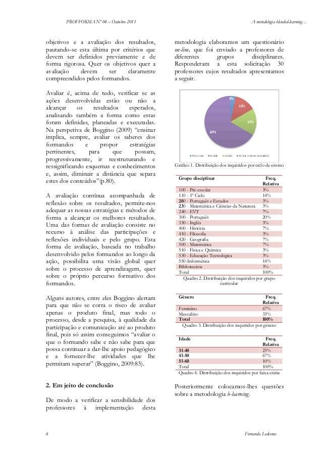 PROFFORMA Nº 04 – Outubro 2011  objetivos e a avaliação dos resultados, pautando-se esta última por critérios que devem se...