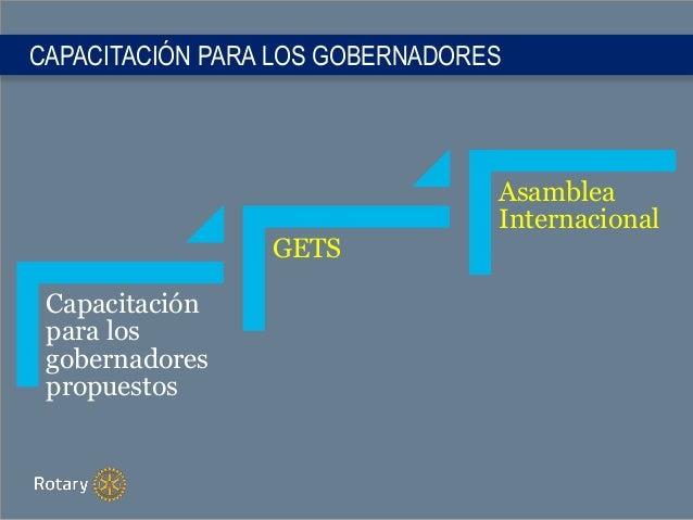 CAPACITACIÓN PARA LOS GOBERNADORES Capacitación para los gobernadores propuestos GETS Asamblea Internacional