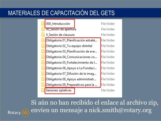MATERIALES DE CAPACITACIÓN DEL GETS Si aún no han recibido el enlace al archivo zip, envíen un mensaje a nick.smith@rotary...