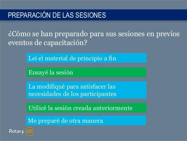 PREPARACIÓN DE LAS SESIONES ¿Cómo se han preparado para sus sesiones en previos eventos de capacitación? Leí el material d...