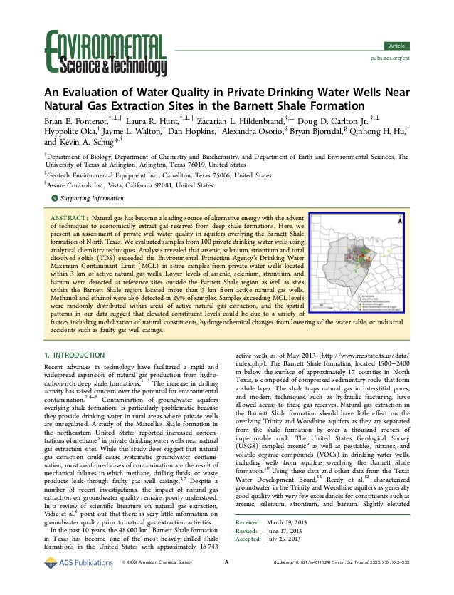 An Evaluation of Water Quality in Private Drinking Water Wells Near Natural Gas Extraction Sites in the Barnett Shale Form...
