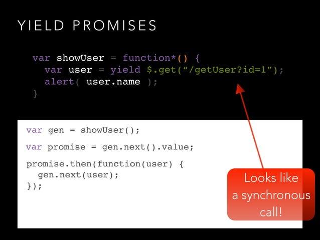Y I E L D P R O M I S E S Looks like a synchronous call! var gen = showUser(); var promise = gen.next().value; promise.the...