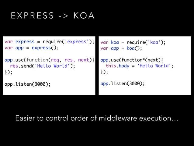 E X P R E S S - > K O A var express = require('express'); var app = express(); ! app.use(function(req, res, next){ res....