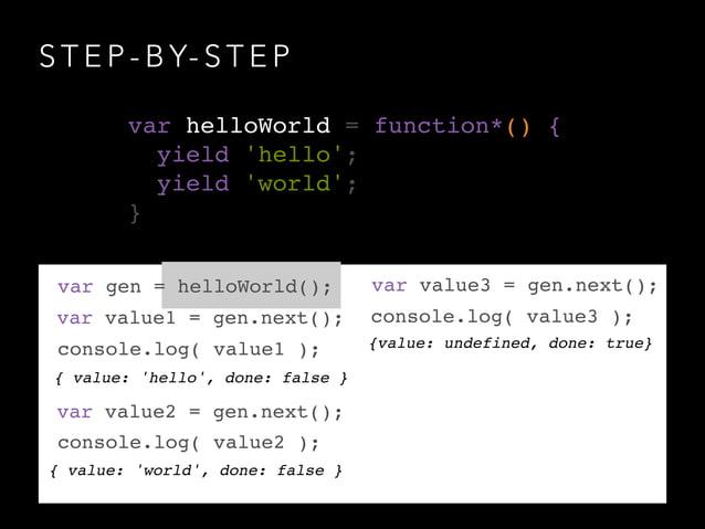 S T E P - B Y- S T E P { value: 'hello', done: false } var gen = helloWorld(); var helloWorld = function*() {! yield 'hell...