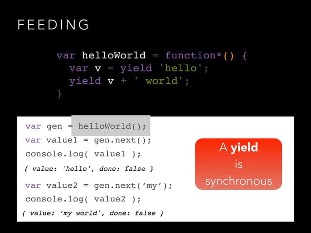 F E E D I N G { value: 'hello', done: false } var gen = helloWorld(); var value1 = gen.next(); console.log( value1 ); var ...