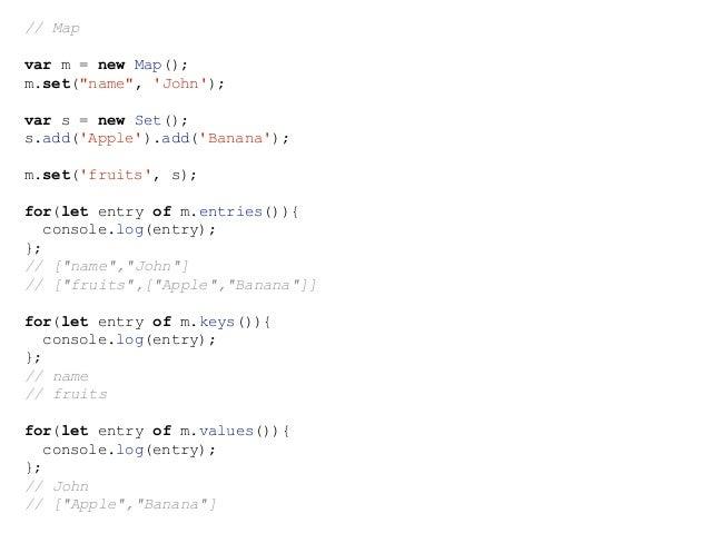 // Set var s = new Set(); s.add('Apple').add('Banana').add('Apple'); console.log(s.size === 2); // true console.log(s.has(...