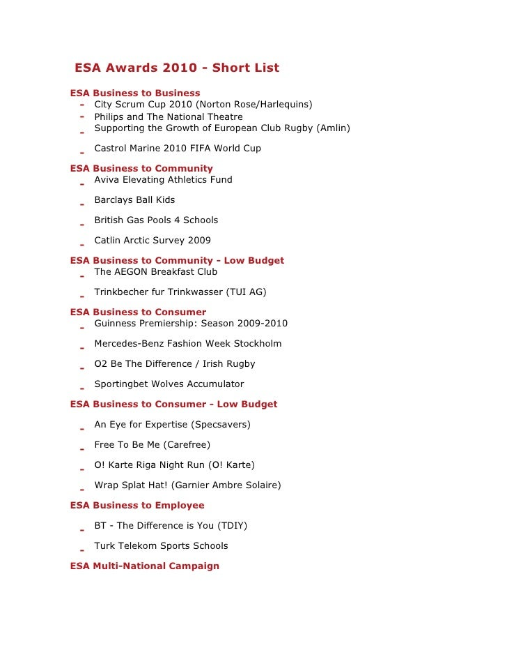 ESA Awards 2010 - Short List<br />ESA Business to Business-City Scrum Cup 2010 (Norton Rose/Harlequins)-Philips and The Na...