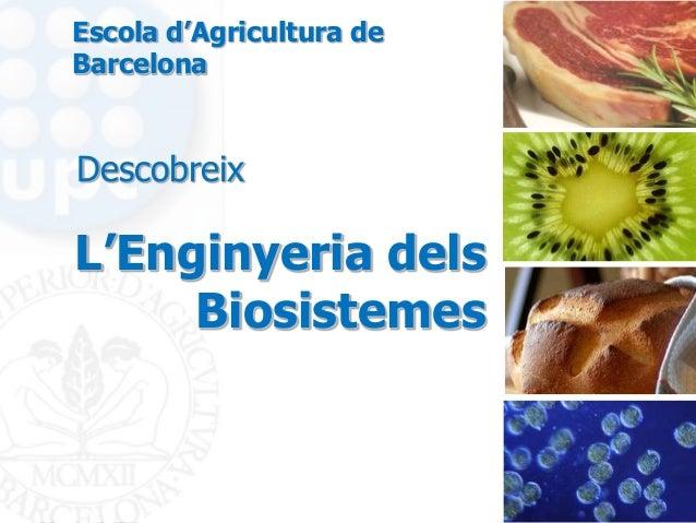 L'Enginyeria delsBiosistemesDescobreixEscola d'Agricultura deBarcelona
