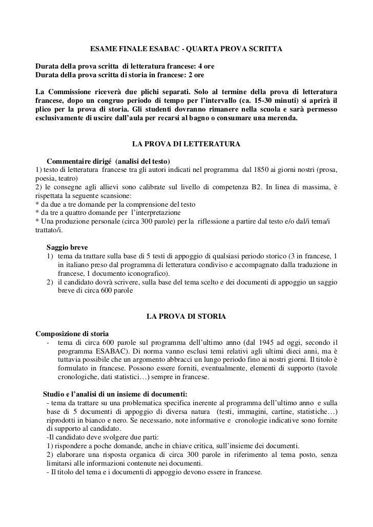 ESAME FINALE ESABAC - QUARTA PROVA SCRITTADurata della prova scritta di letteratura francese: 4 oreDurata della prova scri...