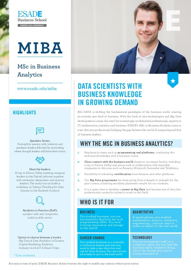 Data SCIENTISTS WITH BUSINESS KNOWLEDGE in Growing demand BIG DATA is shifting the fundamental paradigms of the business w...