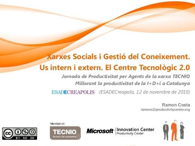 Xarxes Socials i Gestió del Coneixement. Us intern i extern. El Centre Tecnològic 2.0 Jornada de Productivitat per Agents ...