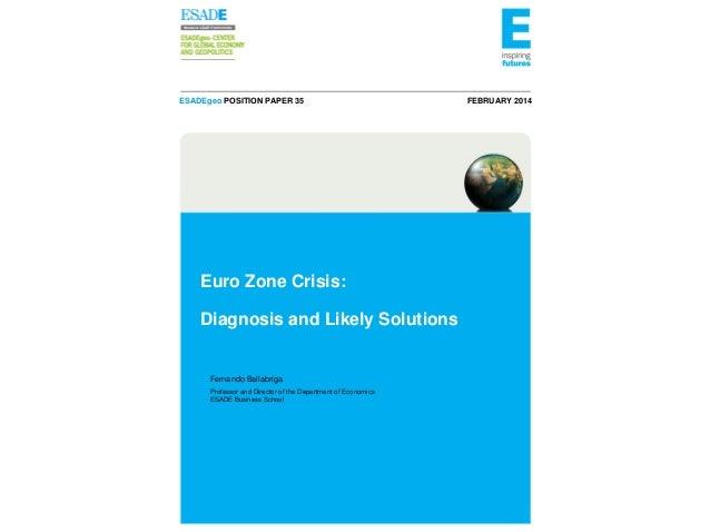 ESADEgeo POSITION PAPER 35  Euro Zone Crisis: Diagnosis and Likely Solutions  Fernando Ballabriga Professor and Director o...