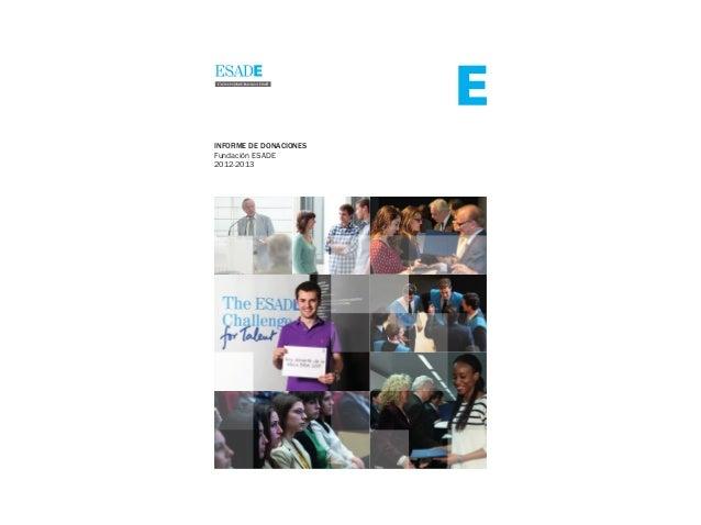 INFORME DE DONACIONES Fundación ESADE 2012-2013