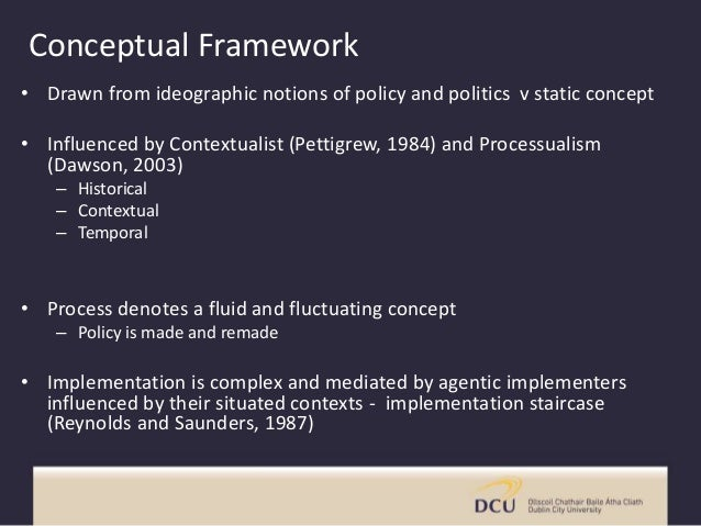 Conceptual Framework • Drawn from ideographic notions of policy and politics v static concept • Influenced by Contextualis...