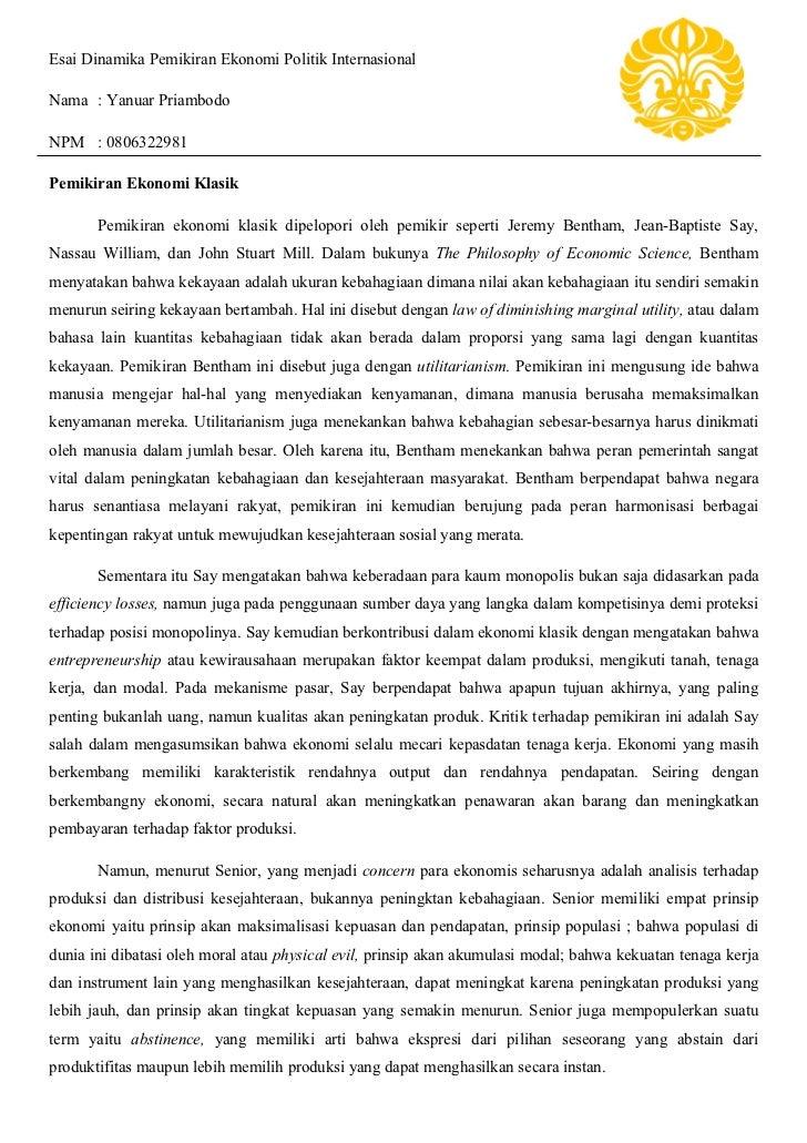 Contoh Essay Ekonomi