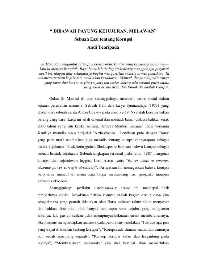 contoh essay tentang koruptor