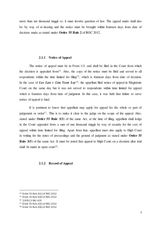 CIVIL PROCEDURE: PROCEDURE OF FILING AN APPEAL FROM SUBORDINATE COURT…