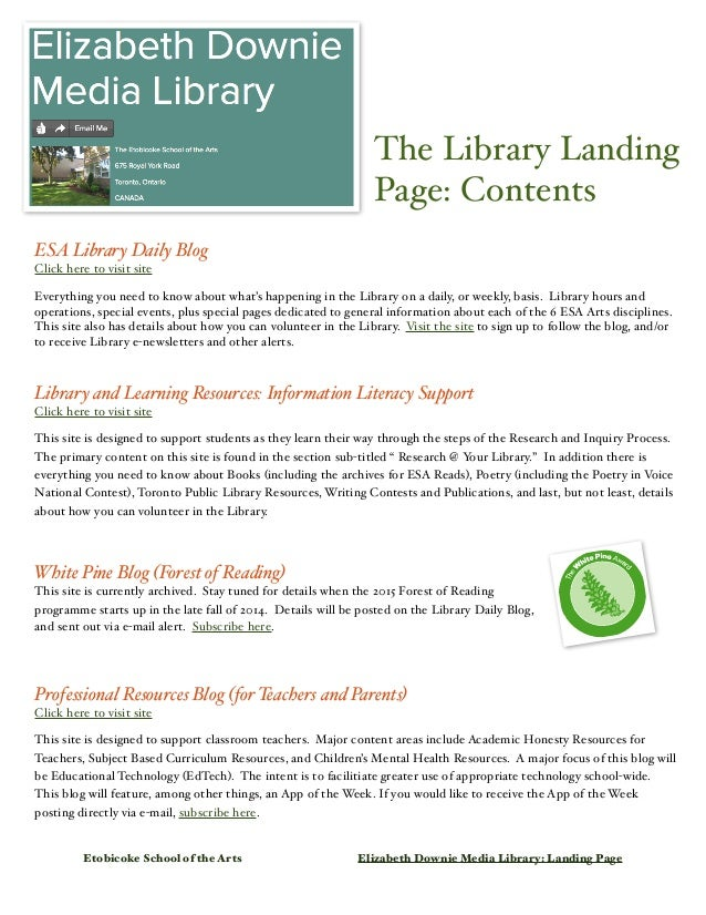 The Library Landing  Page: Contents  ESA Library Daily Blog  Click here to visit site  Everything you need to know about w...