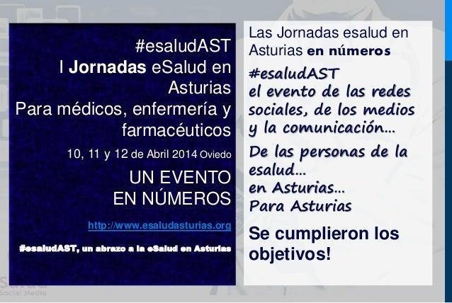 #esaludAST  I Jornadas eSalud en  Asturias  Para médicos, enfermería y  farmacéuticos  10, 11 y 12 de Abril 2014 Oviedo  U...