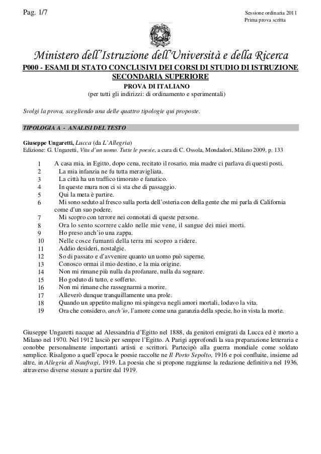 Pag. 1/7  Sessione ordinaria 2011 Prima prova scritta  Ministero dell'Istruzione dell'Università e della Ricerca P000 - ES...