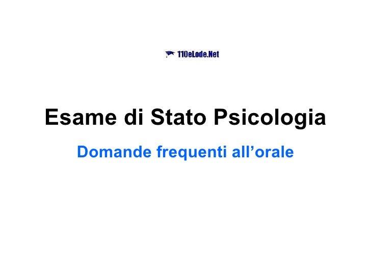 Esame di Stato Psicologia Domande frequenti all'orale